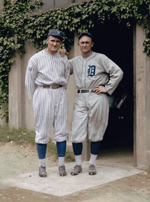 Walter Johnson of the Washington Senators and Detroit Tigers' Ty Cobb pictured at Griffith Stadium on 4 August 1925.