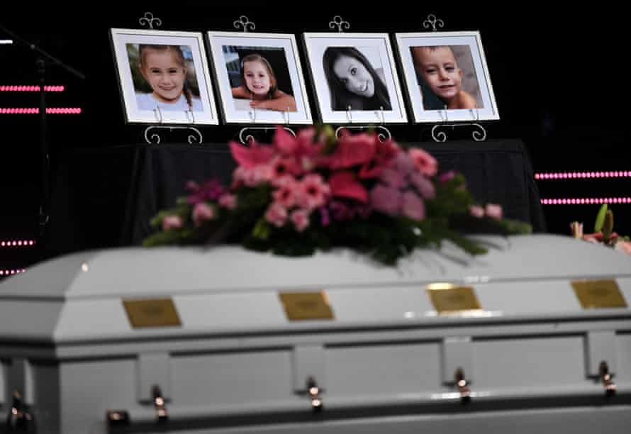 Photos of Hannah Clarke and her three children on display at their funeral in Brisbane