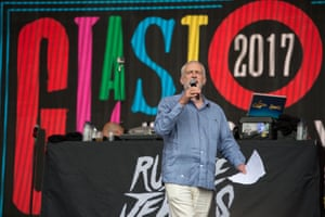 The Labour leader on the Pyramid Stage at Glastonbury in June.
