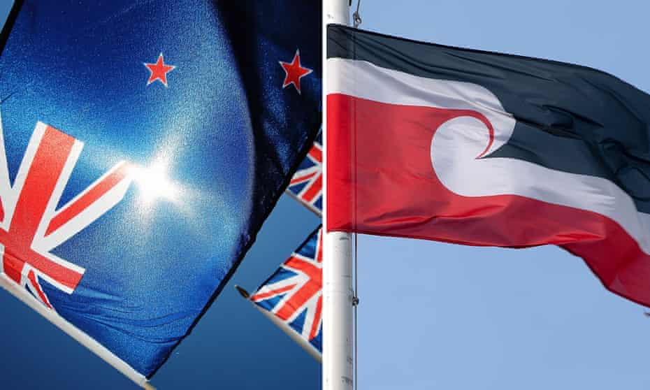 The New Zealand and Maori flag