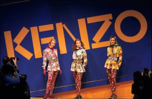 Models in chintz prints, brights and scarves at the autumn-winter 1991 collection, shown in Paris