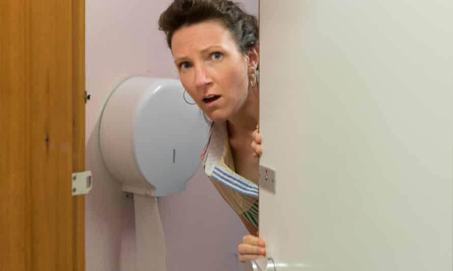 Liz Richardson leaving a toilet during a photoshoot for her new show Gutted.