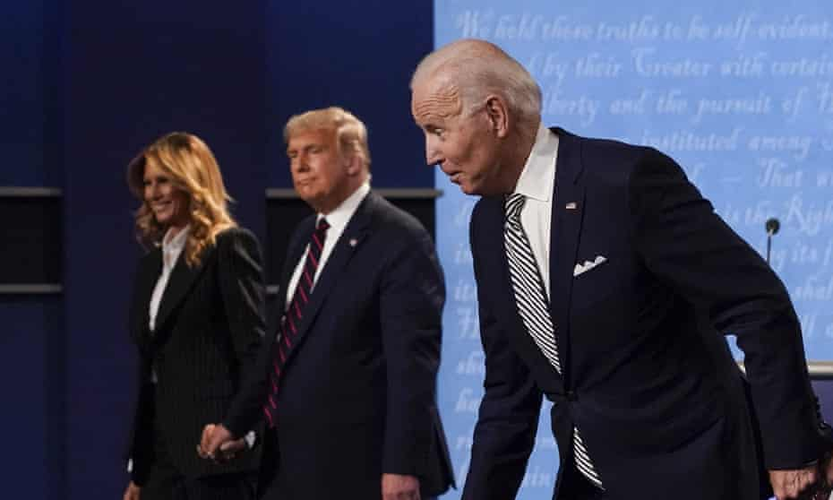 Donald Trump and Joe Biden leaving the stage after their debate at Case Western University and Cleveland Clinic, Ohio