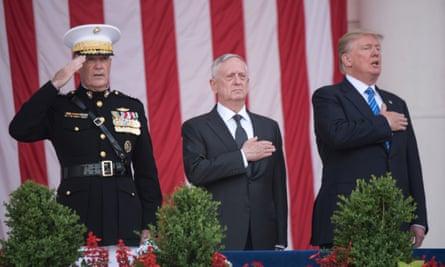Gen Joe Dunford, the defense secretary, Jim Mattis, and President Donald Trump on Memorial Day.