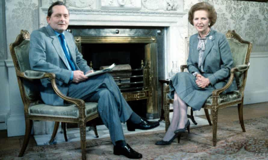 Brian Walden with Margaret Thatcher on LWT's Weekend World in 1984. He had a soft spot for her, saying she reminded him of his mother and made him laugh.