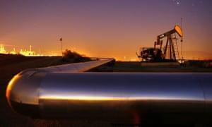 An oil rig south of Taft, California