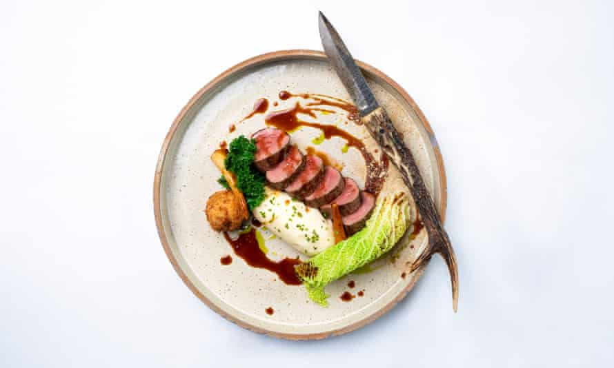 'Deep rosy slices, with impeccable mash': venison.