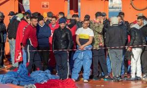 Migrants arriving at Cartagena port, Murcia, southeastern Spain