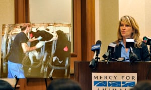 Rebecca Frye, director of education at Mercy for Animals, shows and undercover video of the conditions at Idaho's Bettencourt Dairies in on 10 October 2012.