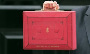 Red budget case held by Philip Hammond who is not in the picture