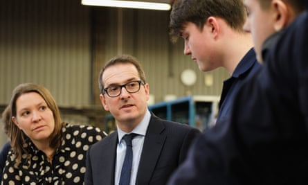 Owen Smith (centre) and Anna Turley, Labour MP for Redcar, speak to apprentices in Middlesbrough.