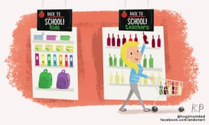 Illustration of a teacher buying wine in the run up to the new school term