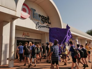 Students march for the climate in Katherine.