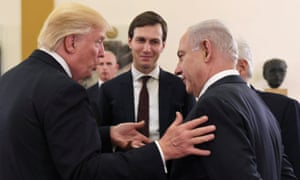 Donald Trump speaks with Benjamin Netanyahu as Jared Kushner looks on. Trump repeatedly referred to Iran in remarks on Monday.