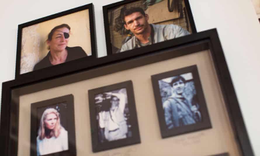 The Frontline Club remembrance wall: Marie Colvin, Tim Hetherington, Rosanna della Casa, Nick della Casa and Charles Maxwell
