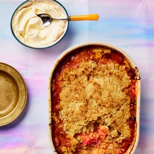 Rhubarb crumble with Guernsey cream.