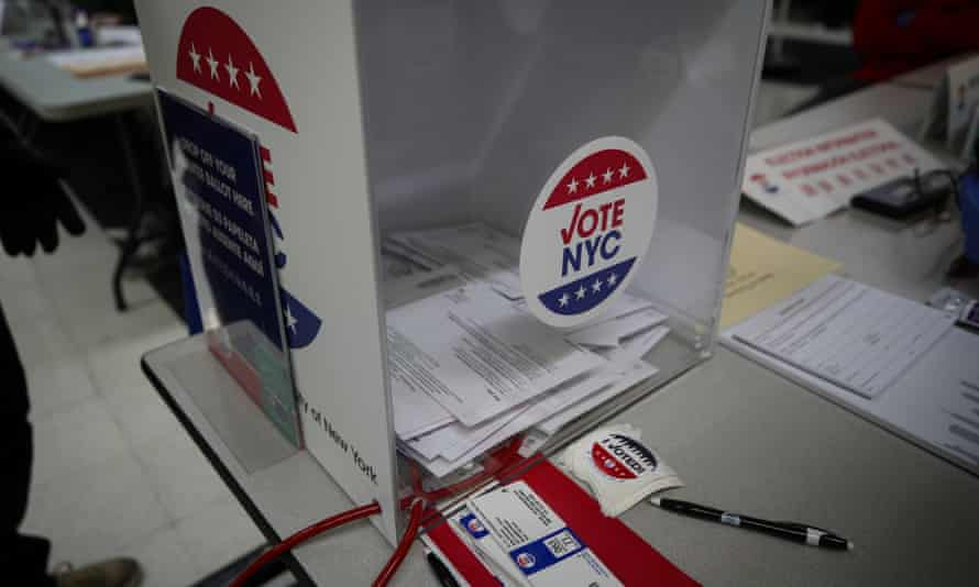 A ballot box for the 2020 presidential election is seen at a polling site in Manhattan.