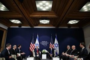 President Donald Trump meeting with Israeli Prime Minister Benjamin Netanyahu at the World Economic Forum.