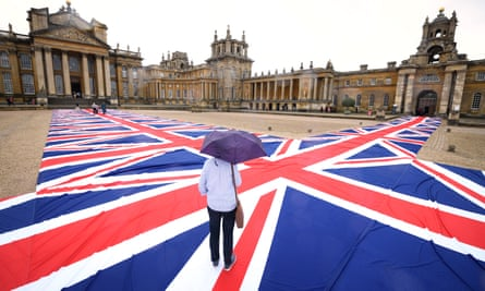 'Is our flag really that hideous?' … Union jacks carpet the courtyard.