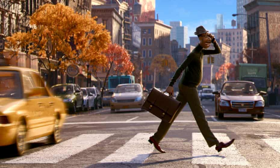The character Joe Gardner, voiced by Jamie Foxx, in a scene from the animated film Soul