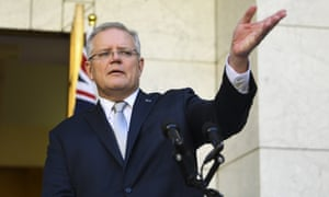 Australia's prime minister Scott Morrison speaks to the media at Parliament House in Canberra
