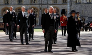 Prince Charles walks behind the hearse at Windsor Castle