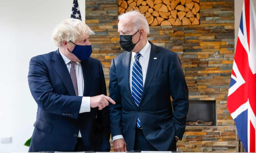 Joe Biden and Boris Johnson appear together for a photocall at the G7 summit in Cornwall