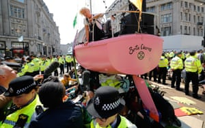 Emma Thompson talks to the media from the campaign group's pink boat