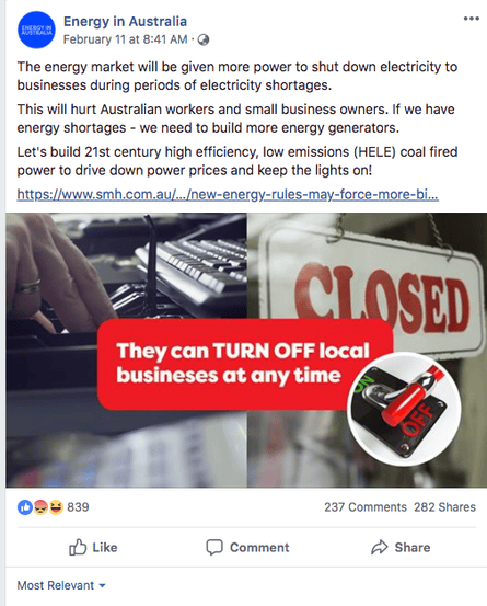 Screenshot of the Energy in Australia Facebook page.