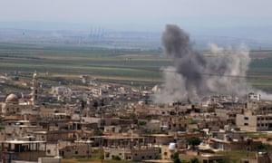 A shelling in Syria's jihadist-held Idlib province.
