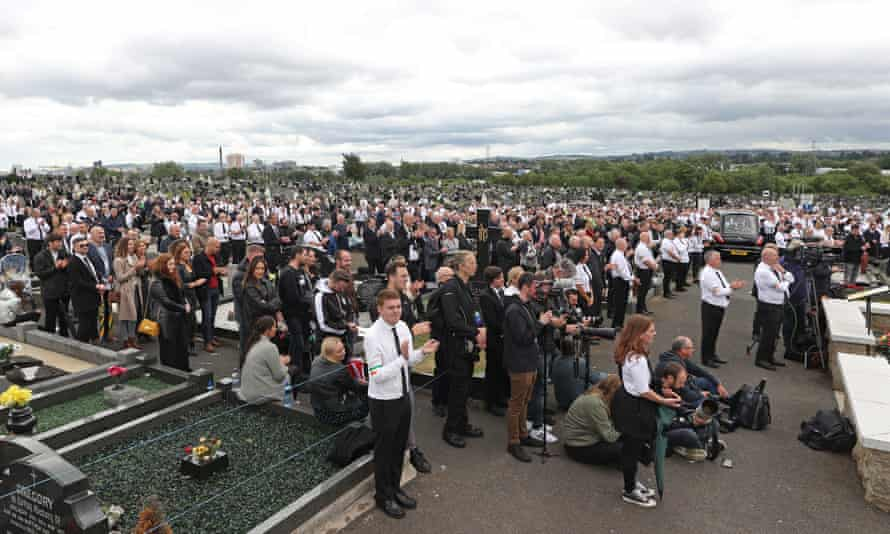 The crowd at the funeral of Bobby Storey last June