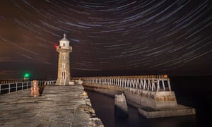 Star trails above Whitby pier.