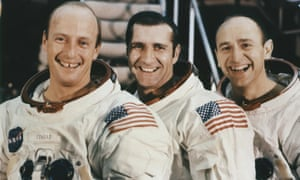 Pete Conrad, Richard Gordon and Bean, seen at their mission simulator at the Kennedy Space Center in 1969.