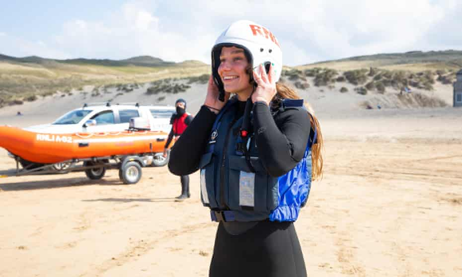 RNLI lifeguard Emily Trestrail during training at Perranporth beach in north Cornwall.
