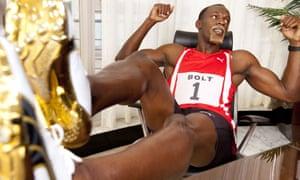 Usain Bolt starring as Sir Richard Branson in an advertising campaign for Virgin Media's broadband service.