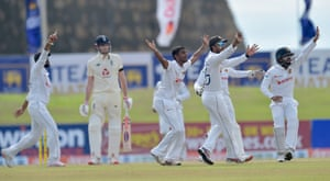 Sri Lanka's players appeal for the wicket of Dom Sibley.