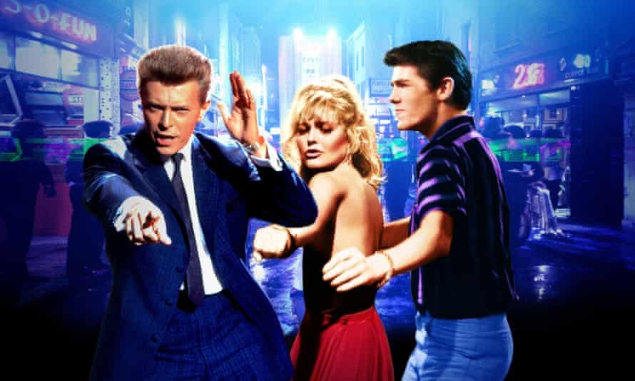 Bowie with, Patsy Kensit and Eddie O'Connell in Absolute Beginners in 1986.
