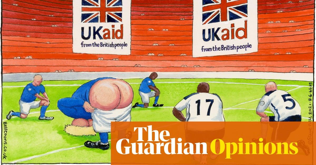 Steve Bell on the England men's football team taking the knee – cartoon