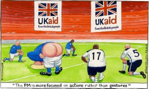Steve Bell cartoon 8/6/21: footballer Boris Johnson moons as other players take knee
