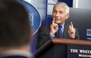 Dr. Anthony Fauci answers questions during a news conference in the White House briefing room on Tuesday.