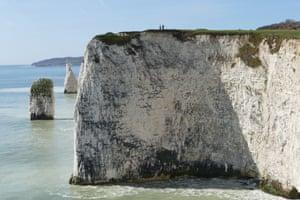 Walkers on Old Harry Rocks, Dorset