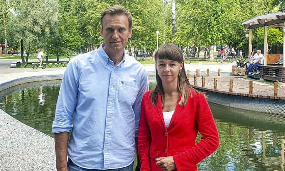 Alexei Navalny, left, with Ksenia Fadeyeva in Tomsk, Russia.