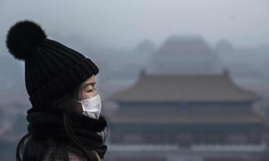 A girl wears a protective mask as she looks towards the Forbidden City in Beijing, which was closed by authorities during the Chinese New Year holiday on 26 January.