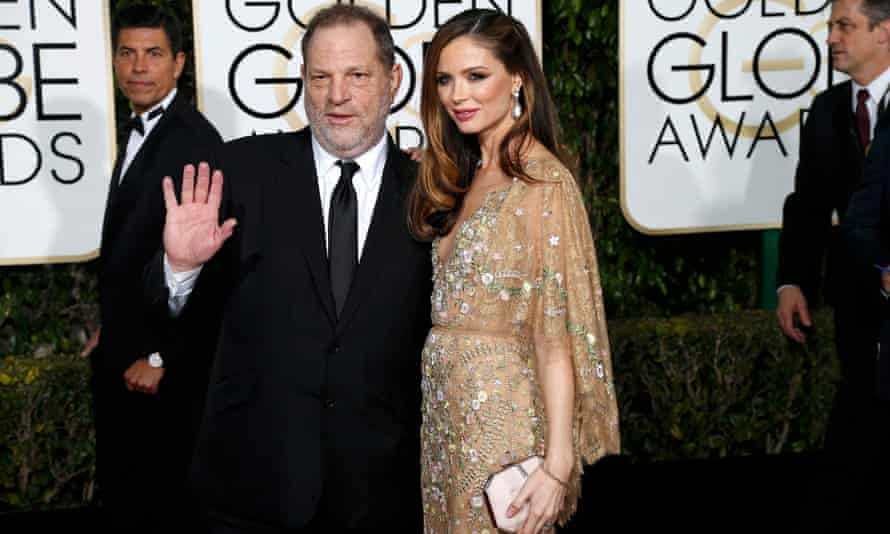 Harvey Weinstein and fashion designer wife Georgina Chapman at the 2016 Golden Globes.