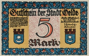 The front side of a beautifully designed Notgeld note from Oelde, Westphalia, 1921, reading 5 marks with the city crest.