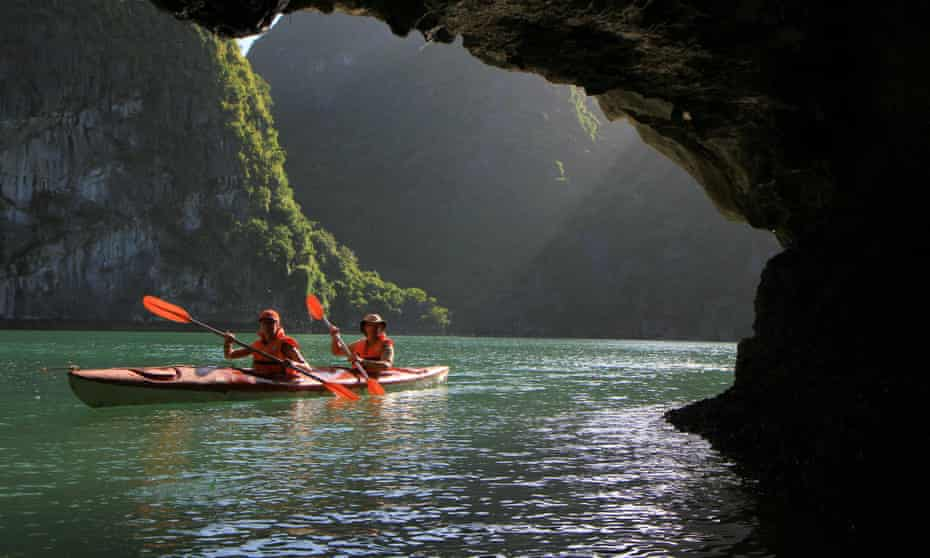 Kayaking around the craggy island of Cát Bà