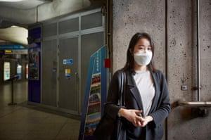 Jieun Park, 26, banking executive, at Westminster Station
