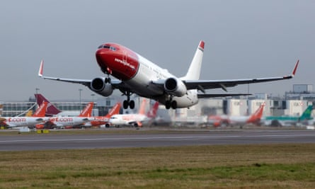 A Norwegian Air 737 plane taking off from Gatwick