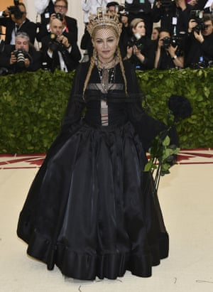 Madonna claims to have been ex-communicated by the Catholic church a couple of times, but she was present and correct in her Jean Paul Gaultier gown. For someone who regularly pushes dress codes to the limit, it was a demure ensemble for the star, who was performing at the event