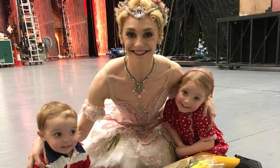 Elizabeth Harrod backstage with her children at the Royal Opera House after a performance of the Nutcracker.